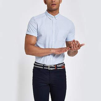 River Island Mens Blue stripe short sleeve slim fit shirt