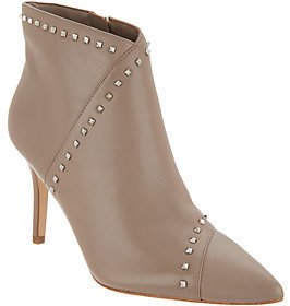 Marc Fisher Leather Studded Pointy Toe Booties-Riva