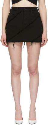 Alexander Wang Black Denim Diagonal Bite Miniskirt