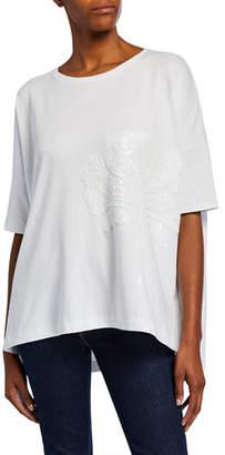 Joan Vass Plus Size Sequin-Flower Crewneck Half-Sleeve Big Tee