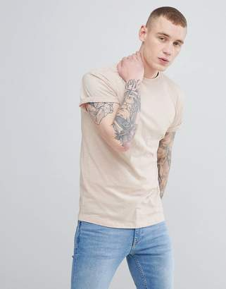 New Look T-Shirt With Roll Sleeve In Light Pink