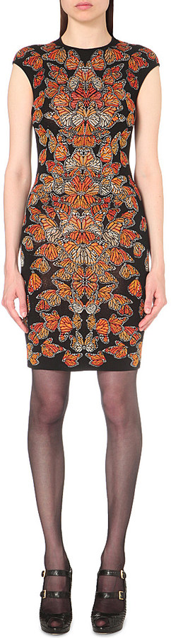 ALEXANDER MCQUEEN Butterfly jacquard-knit dress