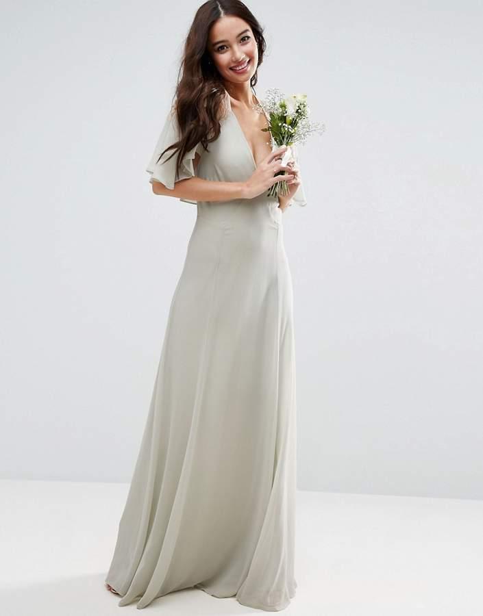 AsosASOS WEDDING Lace Applique Cape Maxi Dress