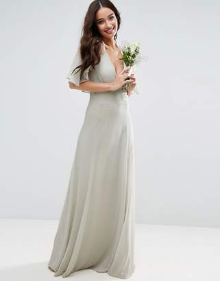 Asos Design Bridesmaid Lace Applique Cape Maxi Dress