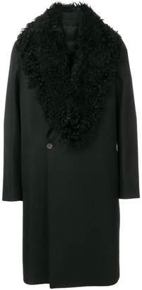Emporio Armani faux shearling-collar coat