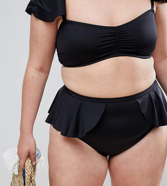 Asos DESIGN Curve recycled floaty frill layer detail high waist pant in black