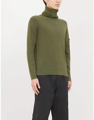 Stone Island Logo-patch turtleneck cotton-knit jumper