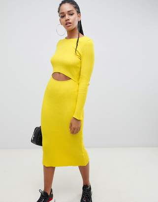 Asos Design DESIGN cut out ribbed midi dress