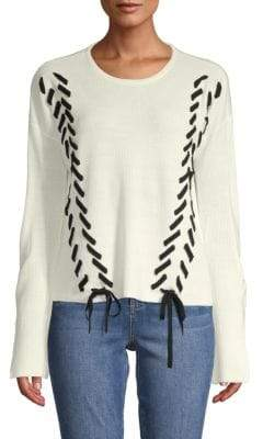 Long-Sleeve Lace-up Sweater