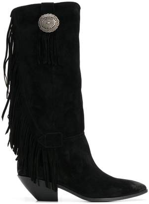 Saint Laurent fringe trim boots