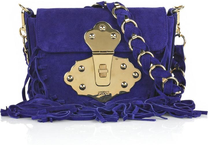 Emilio Pucci Fringed suede shoulder bag