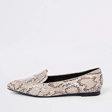 Womens Beige snake print pointed toe wide fit loafer