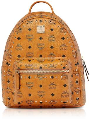 MCM Small Cognac Studded Outline Visetos Stark Backpack