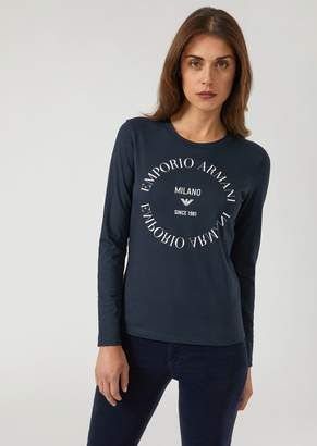 Emporio Armani Long-Sleeved Top With Contrasting Logo