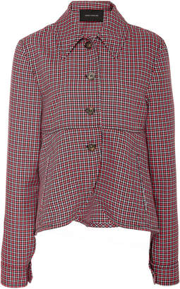 Cédric Charlier Collared Plaid Twill Swing Jacket