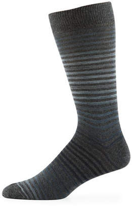 Neiman Marcus Men's Space-Dye Stripe Cotton Socks