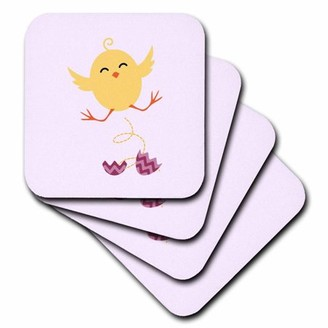 3drose 3dRose Chicken baby newborn pink kids room decoration - Soft Coasters, set of 8