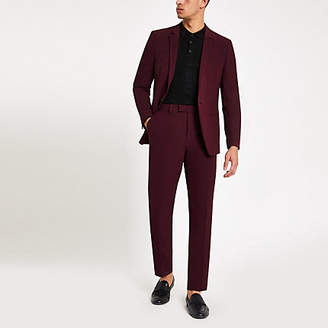 River Island Burgundy skinny fit suit pants
