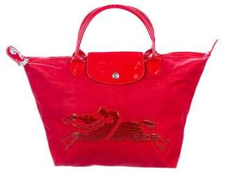Longchamp Patent Leather-Trimmed Le Pliage Tote