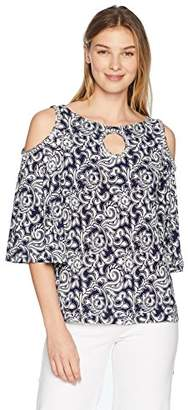 MSK Women's Cold Shoulder Top with Glitter Puff Motif and Rhinestones