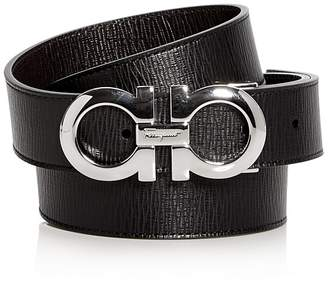 Salvatore Ferragamo Revival Textured Reversible Belt with Shiny Rhodium-Tone Double Gancini Buckle