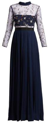 Self-Portrait Self Portrait Sequinned Star Tulle And Crepe Dress - Womens - Navy