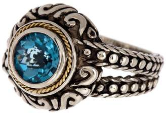 Effy Sterling Silver & 18K Gold Scroll & Dot Blue Topaz Ring - Size 7