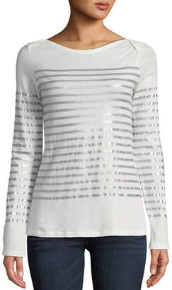 Neiman Marcus Majestic Paris for Metallic-Stripe Cotton-Cashmere Long-Sleeve Top