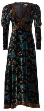 Rebecca Taylor Floral Velvet V-Neck Dress