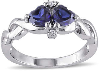FINE JEWELRY Heart-Shaped Lab-Created Blue Sapphire and Diamond-Accent Sterling Silver Ring