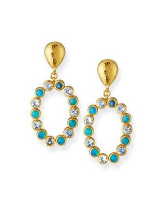 Gurhan One-of-a-Kind 24k Gold Opal & Aquamarine Drop Earrings