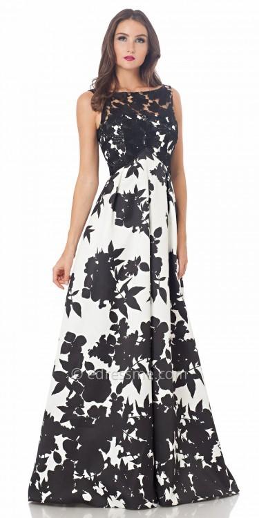 Carmen Marc ValvoCarmen Marc Valvo Infusion Floral Print A Line Prom Dress