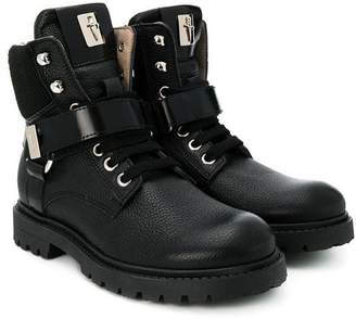 Cesare Paciotti Kids buckled lace-up boots