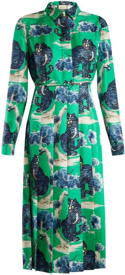 GUCCI Wild cat-print silk-twill shirt dress