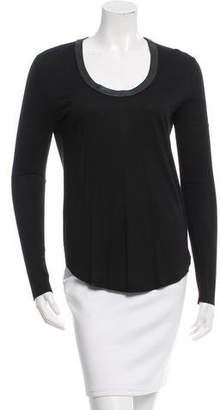 Joseph Leather-Trimmed Long Sleeve Top