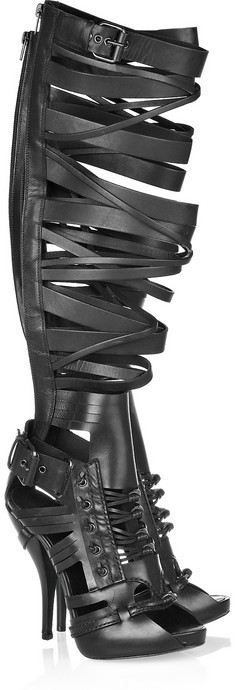 Givenchy Strappy leather knee-high boots