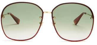 Gucci Glitter Embellished Sunglasses - Womens - Gold Multi