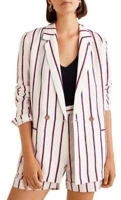MANGO Americana Braid Stripe Unstructured Blazer
