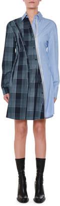 Stella McCartney Asymmetric-Zip Plaid & Striped Mixed-Print Oxford Flippy Dress
