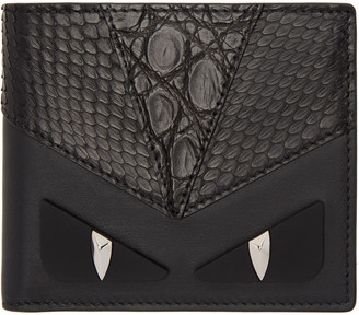 Fendi Black Snakeskin 'Bag Bugs' Wallet $650 thestylecure.com