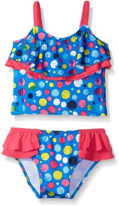 Pink Platinum Little Girls Dotted Tankini Swimsuit