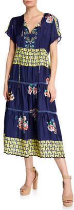 Johnny Was Zakina Tie-Neck Short-Sleeve Floral Tiered Silk Dress