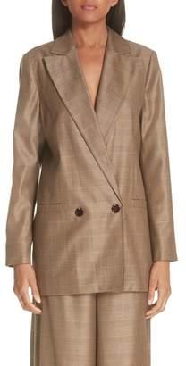 Ganni Double Breasted Check Silk & Wool Blazer