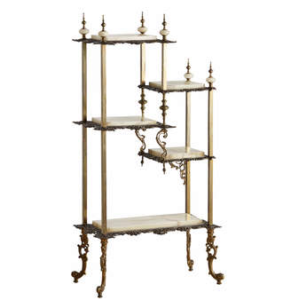 Rejuvenation Highly Decorative Onyx & Brass Etagere