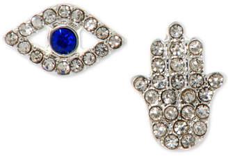 lonna & lilly Silver-Tone Crystal Evil Eye & Hamsa Mismatch Stud Earrings