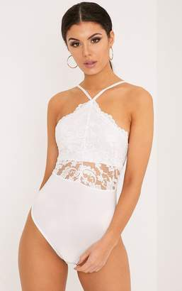 PrettyLittleThing Cream Scallop Lace Thong Bodysuit