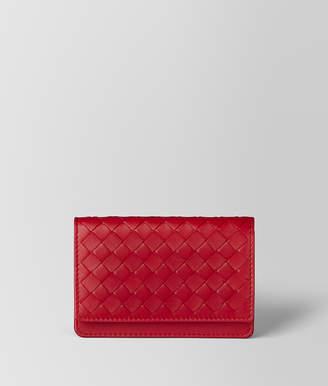 Bottega Veneta CHINA RED INTRECCIATO NAPPA CARD CASE