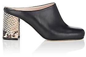 Barneys New York Women's Block-Heel Leather Mules - Black