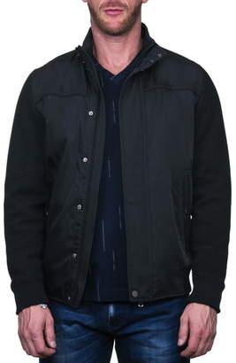 Maceoo Knit Sleeve Black Bomber Jacket