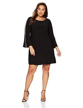 MSK Women's Plus Size Bell Cocktail Dress with Pearl Sleeve Details